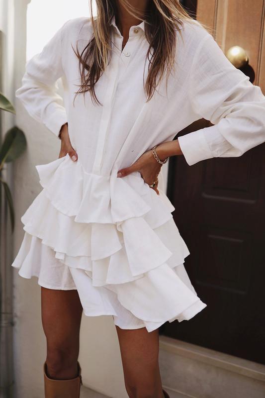Delfina Dress in White Linen
