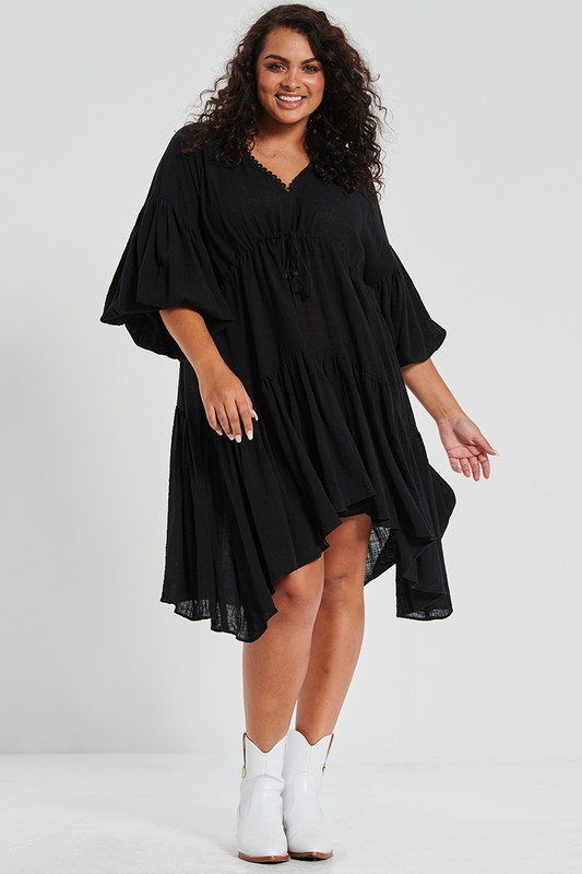 Billow Sleeve Dress in Black Textured Cotton