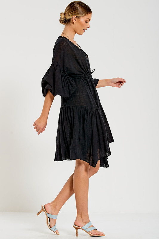 Billow Sleeve Dress in Black Textured Cotton
