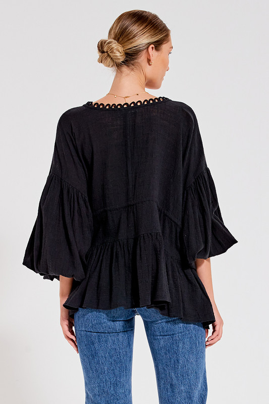 Billow Sleeve Top in Black Textured Cotton