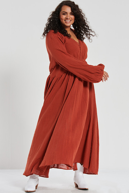 Backless Maxi in Russet