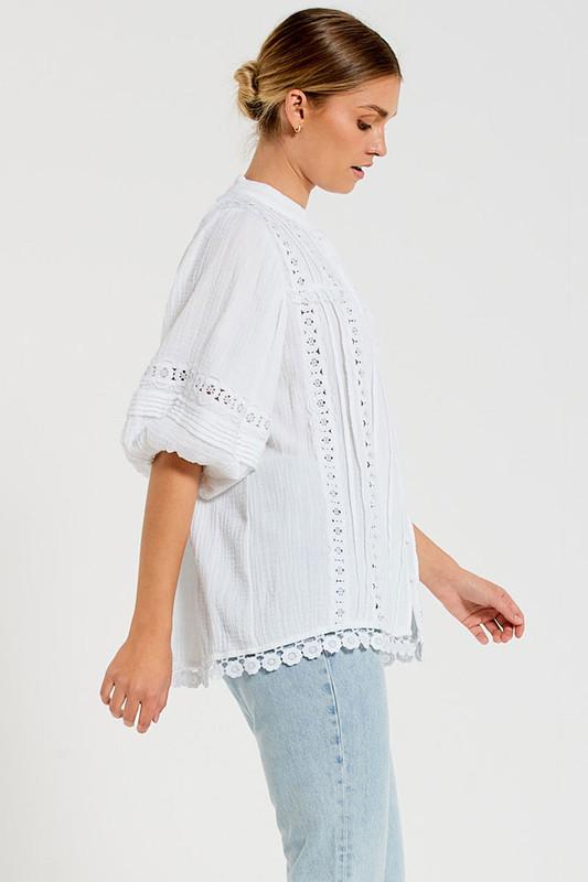 Bonnie Blouse in White Textured Cotton