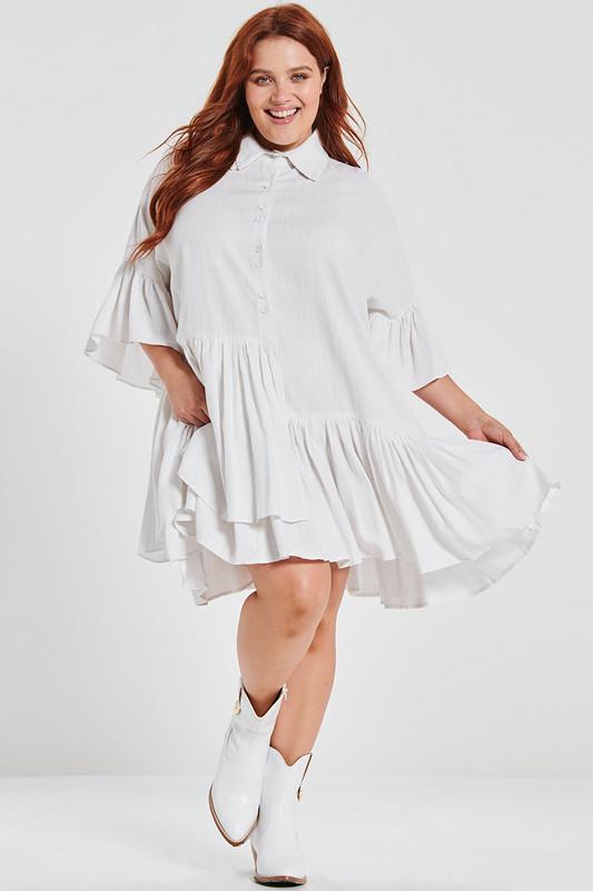 The New Genoa Dress in Dove White Linen