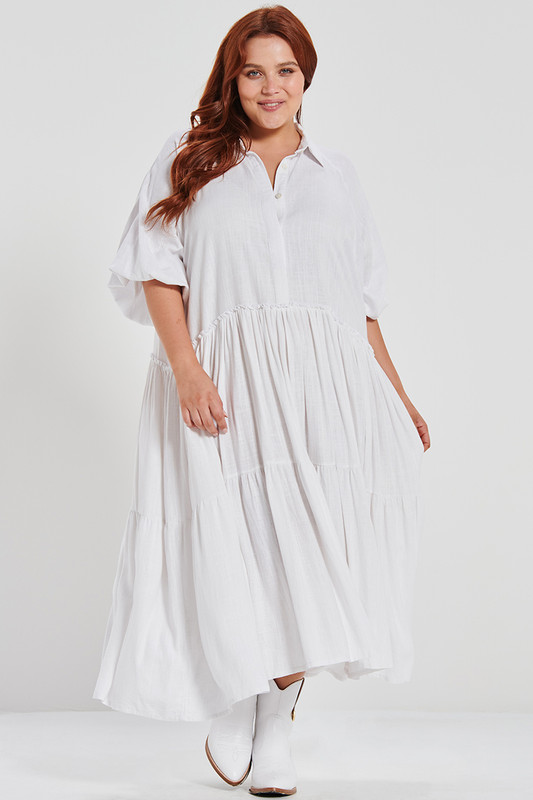 Camilla Dress in Dove White Linen