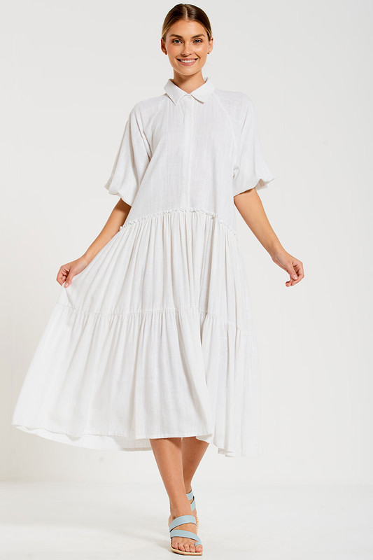 Camilla Dress in Dove White Linen