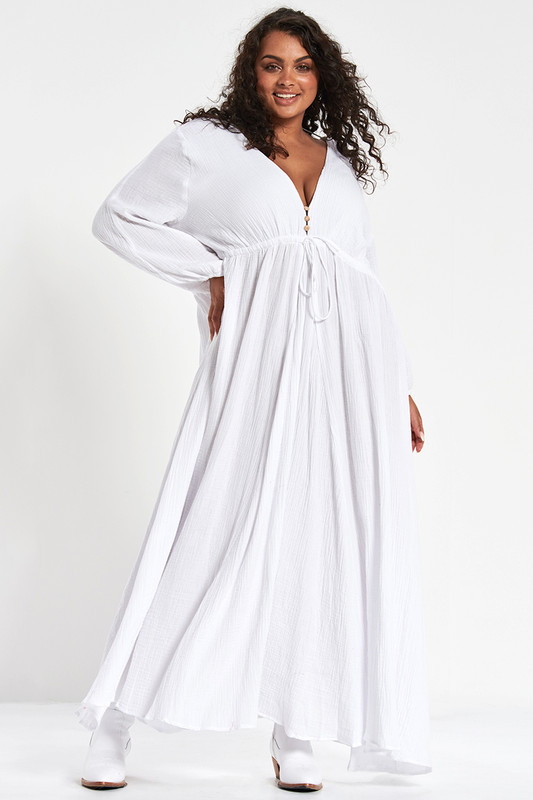 Amara Maxi Dress in White Textured Cotton