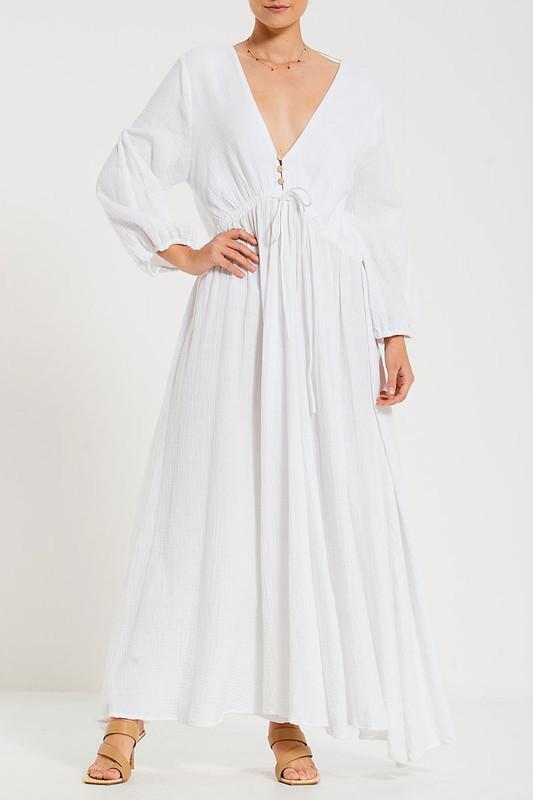 Amara Maxi Dress in White Textured Cotton