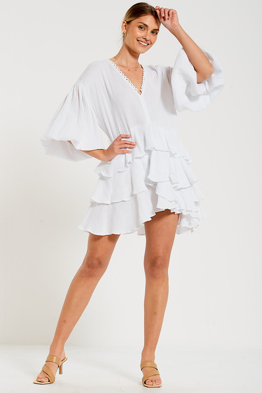 Ruffle Hem Mini Dress In White Textured Cotton