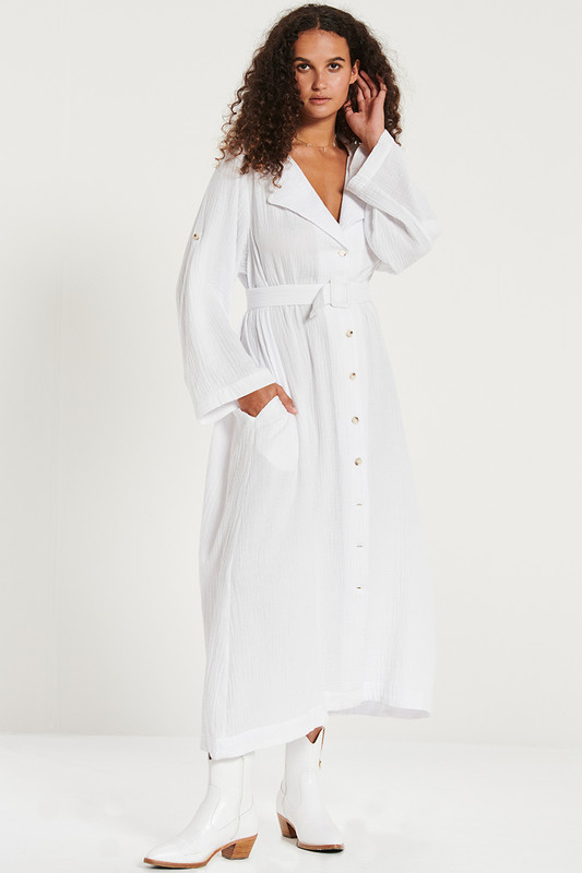 Button Down Utility Dress In White Textured Cotton