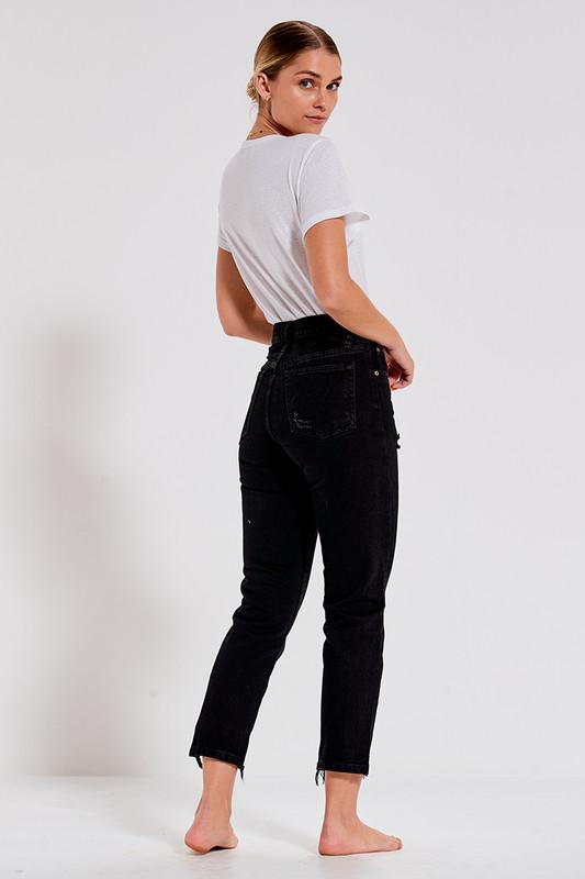 Distressed Slim Mum Jean in Washed Black