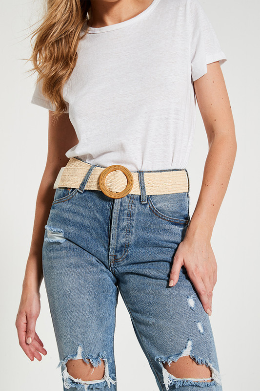 Stretchy Rattan Belt in Natural