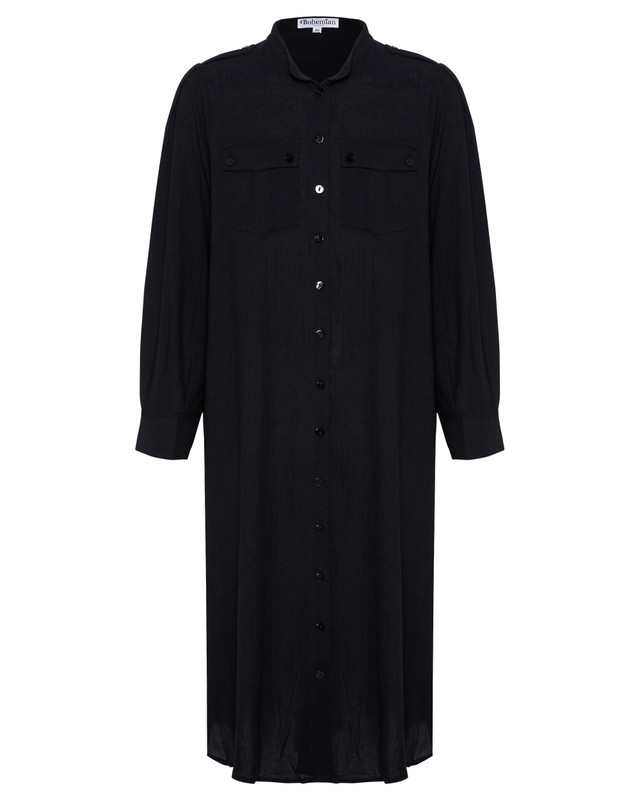 Shirt Dress with Pockets in Black