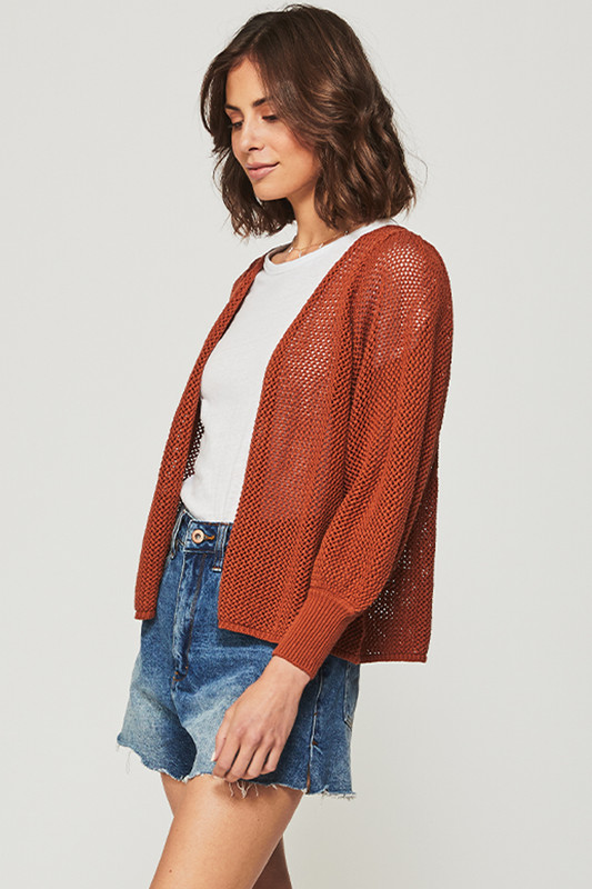 Bohemian Graphic Cardigan in Brown