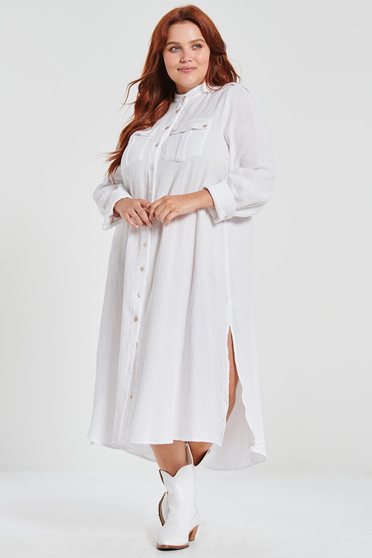Shirt Dress with Pockets in White Textured Cotton