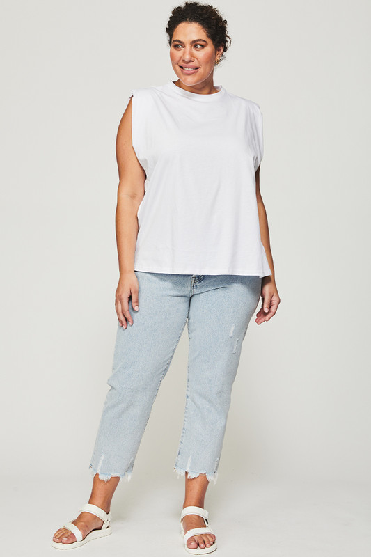 Shoulder Pad Tank in White