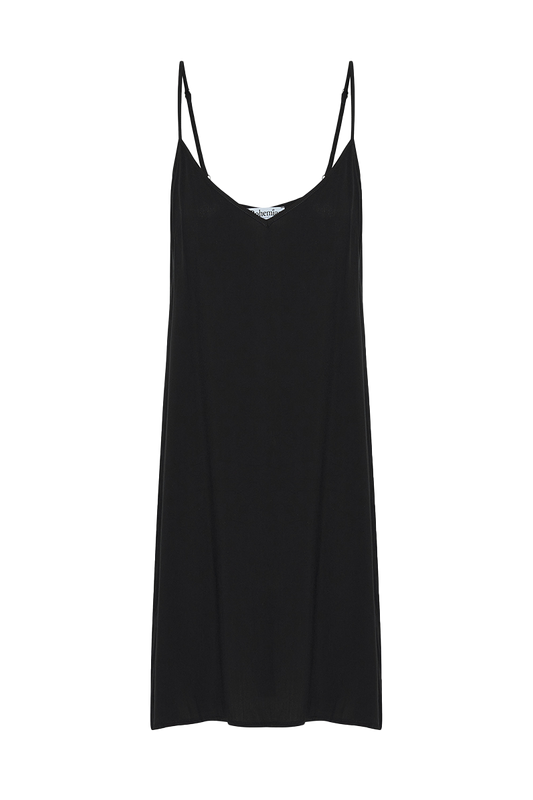 Midi Slip in Black Rayon