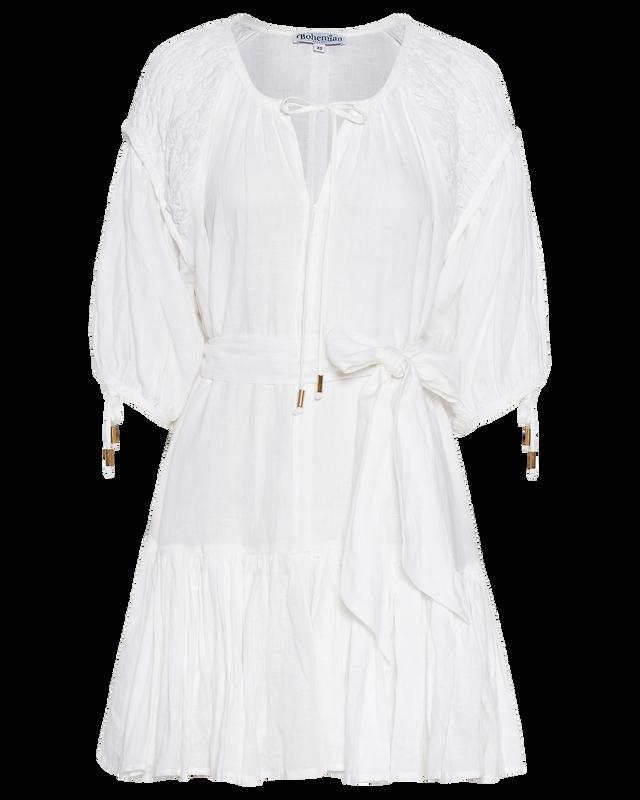 Smocked Shoulder Mini Dress in White Linen