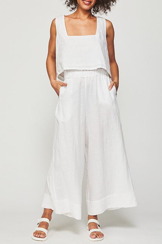 Square Neck Tank in White Linen