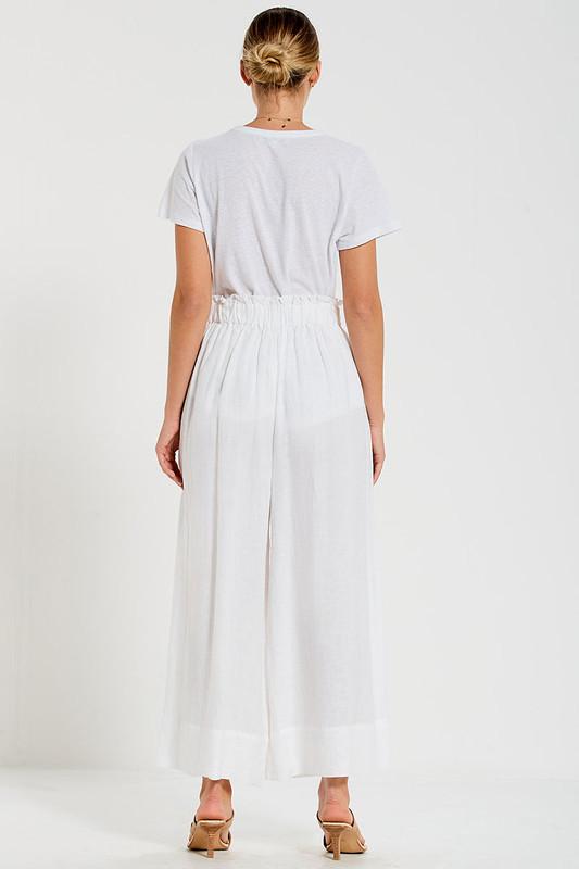 Paper Bag Pant in White Linen