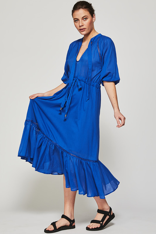 Raglan Sleeve Prairie Midi Dress in Cobalt
