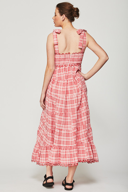 Shirred Bodice Dress with Tie Straps in Cherry Check