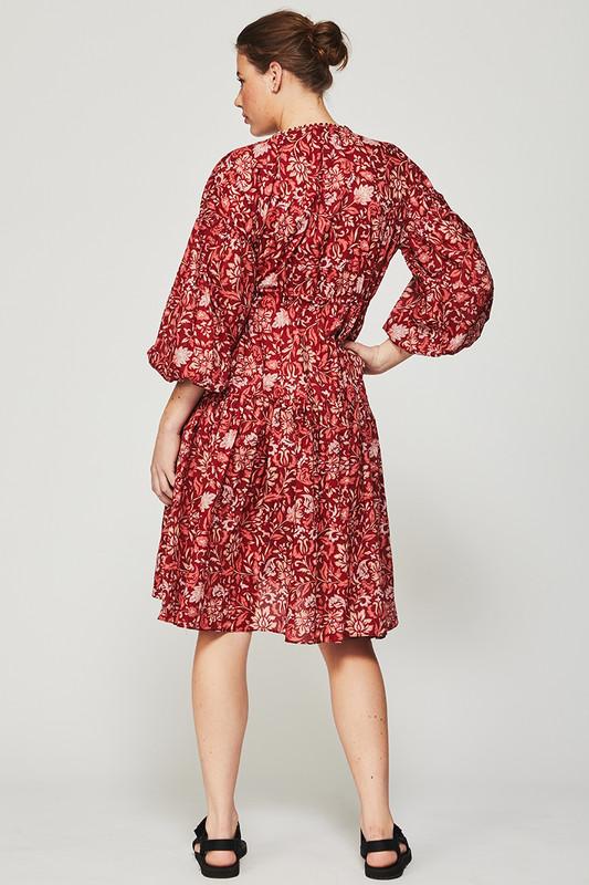 Billow Sleeve Midi Dress in Lovefool