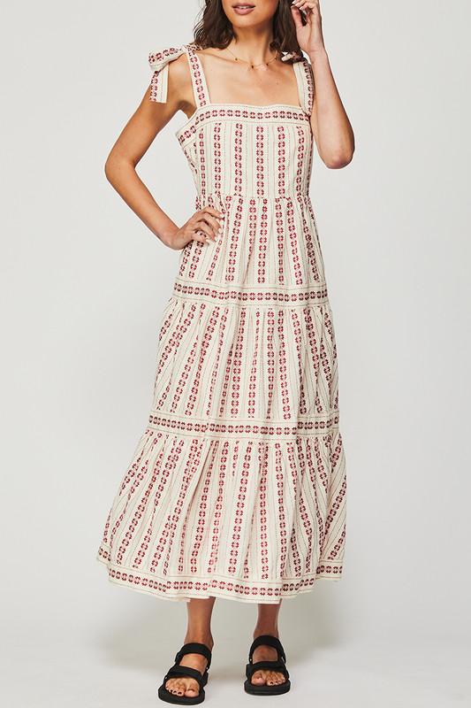 Fixed Bodice Dress in Textured Cherry Stripe