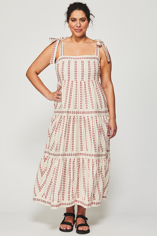 Fixed Bodice Dress in Textured Cherry Stripe