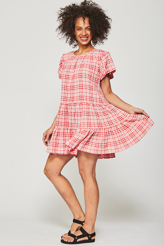 Tiered Flutter Sleeve Mini Dress in Cherry Check