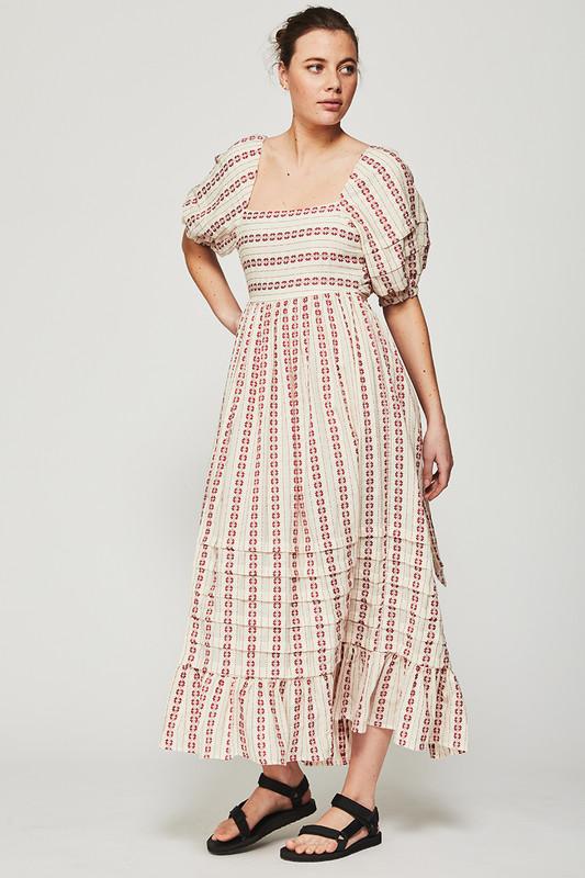 Tie Back Maxi Dress with Leg Split in Textured Cherry Stripe