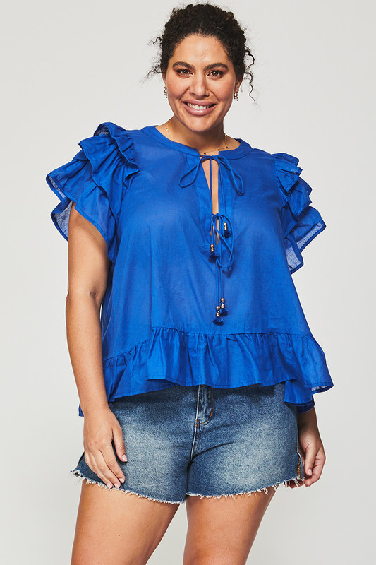 Dreamer Top with Ruffle Sleeve in Cobalt