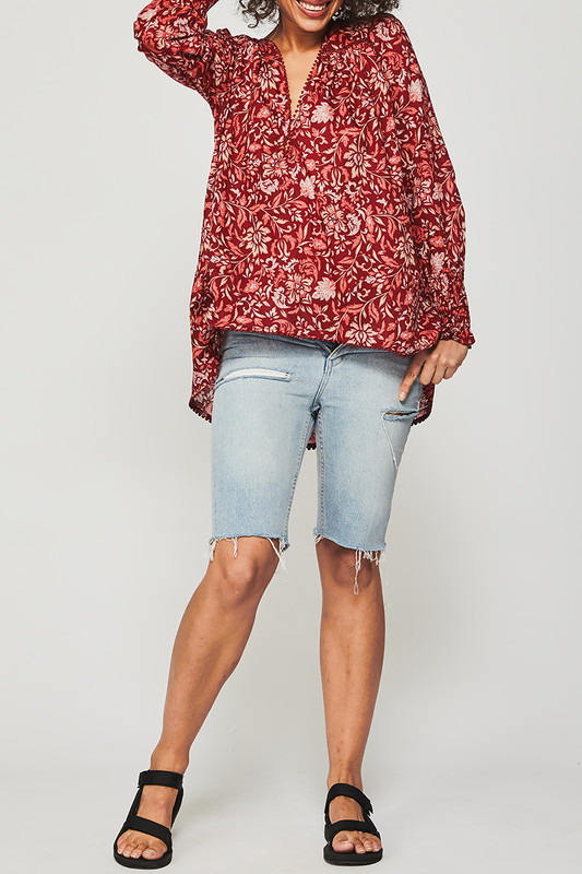 Shirred Sleeve Gypsy Top in Lovefool