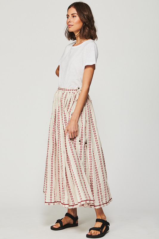 Rell Circle Skirt in Textured Cherry Stripe