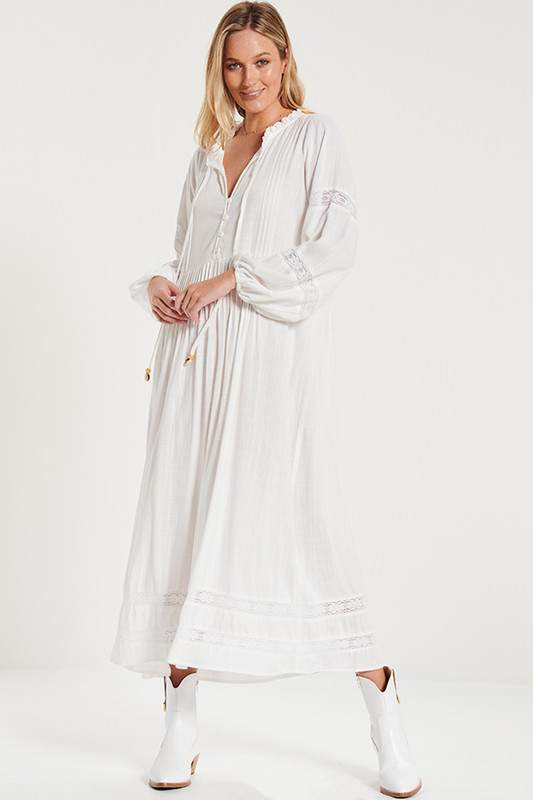 Lace Insert Smock Dress In White