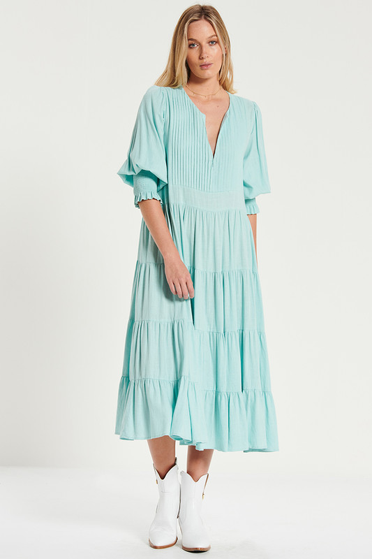 Tuxedo Pin Tuck Midi Dress In Teal Linen