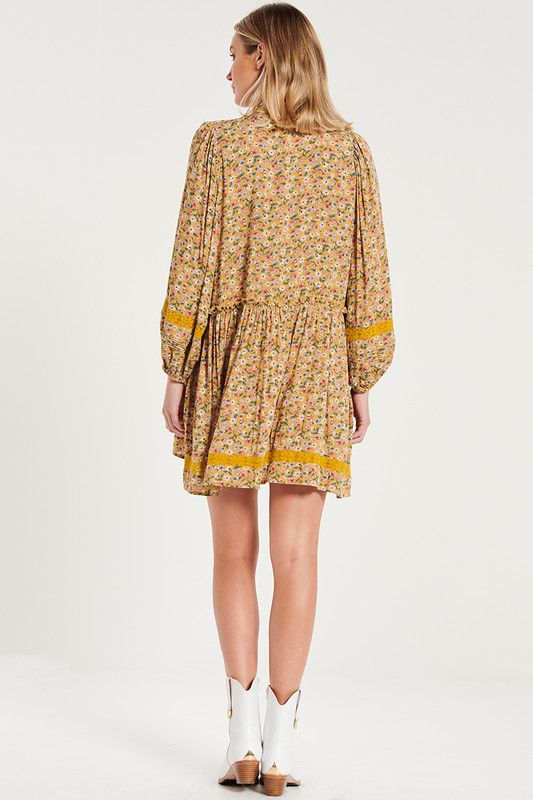 Long Sleeve Camilla Mini Dress With Lace Inserts In Mustard Floral