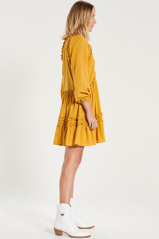 Raglan Sleeve Ruffle Mini Dress In Mustard Lurex