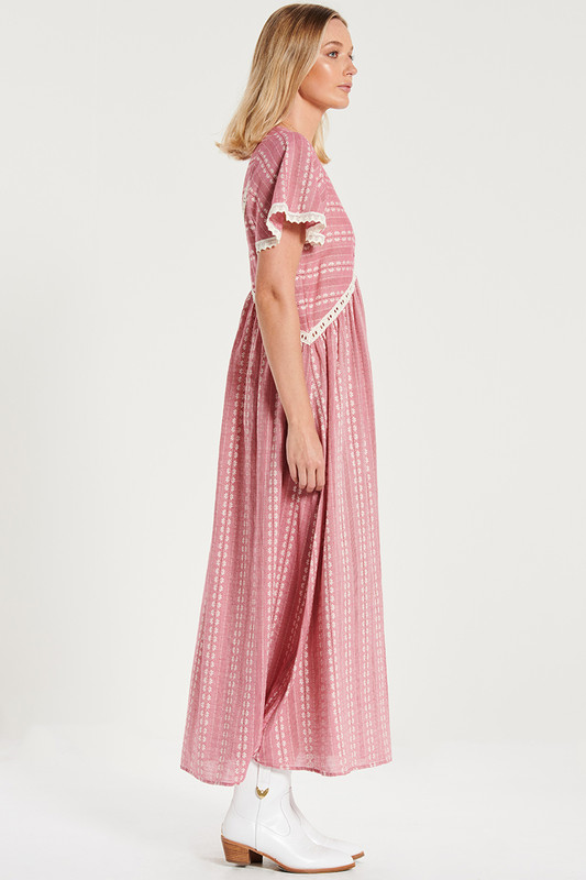 Lace Trim Smock Maxi Dress In Rouge