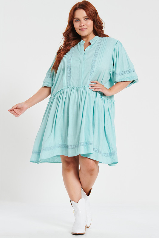 Camilla Mini Dress With Lace Inserts In Teal Linen
