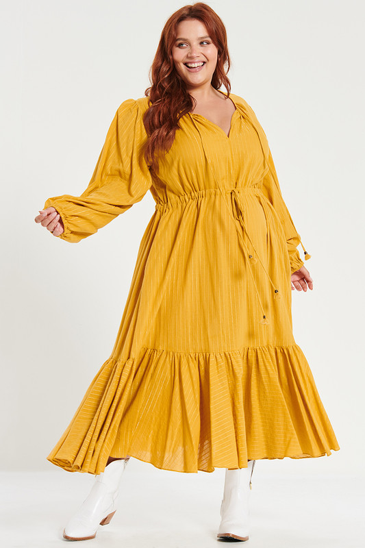 Fiesta Midi Dress In Mustard Lurex