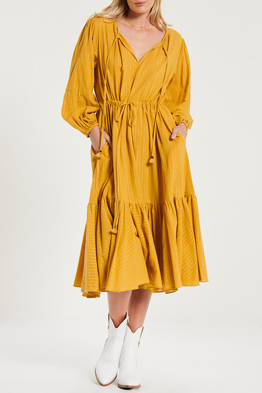 Fiesta Midi Dress In Mustard Lurex