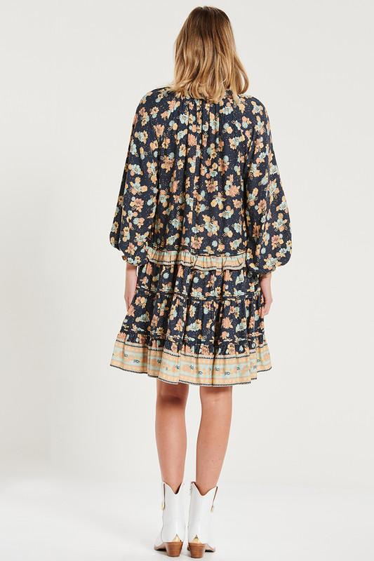 Ruffle Neck Tiered Mini Dress with Pin Tucks In Electric Bay