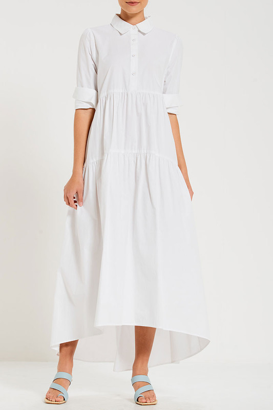 Tiered Maxi Dress In White