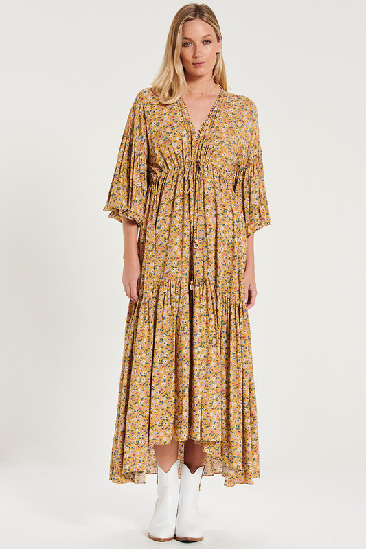 Billow Sleeve Maxi Dress In Mustard Floral
