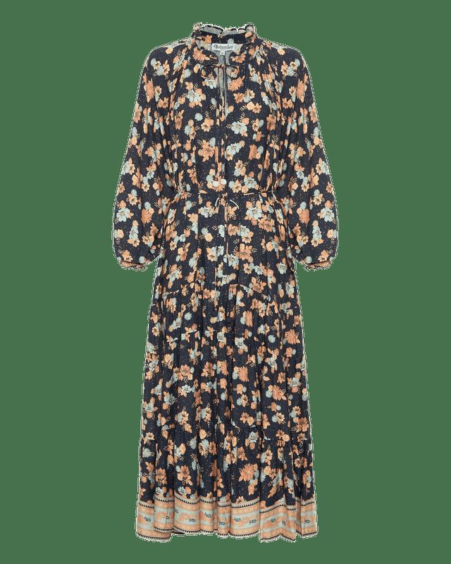 Ruffle Hem Maxi Dress In Electric Bay