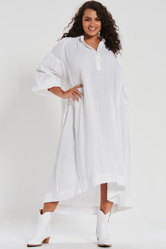 Textured Oversized Shirt Dress In White
