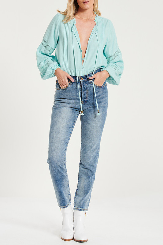 Lace Insert Smock Blouse In Teal Linen