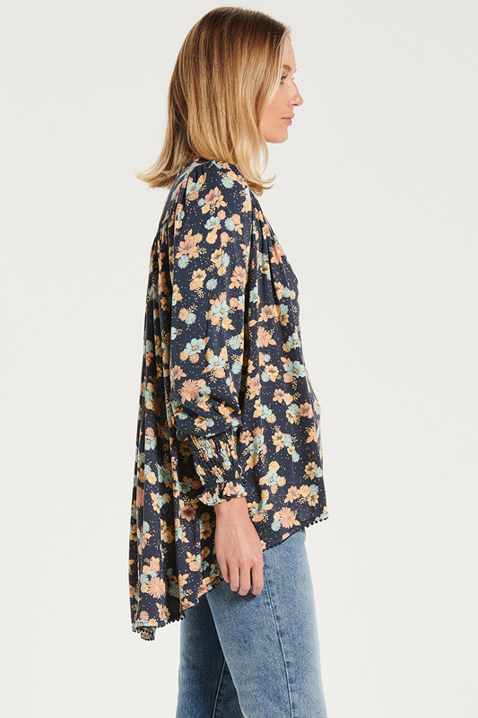 Shirred Sleeve Gypsy Top In Electric Bay
