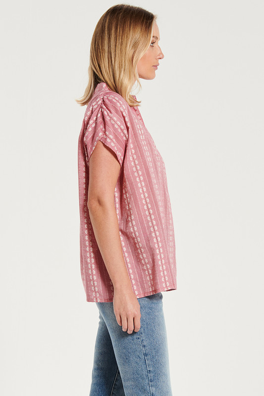Oversized Deep V Tee In Rouge