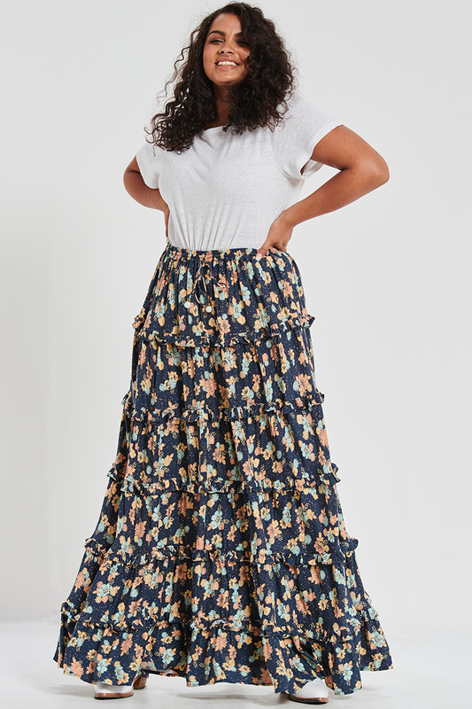 Ruffle Maxi Skirt In Electric Bay
